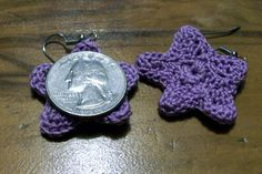 Starfish Dangle Earrings In Lilac by amydscrochet on Etsy, $4.50
