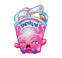Ice Cream Dream (Shopkins 1-121, 1-129) Ice Cream Dream is a pink tub of icecream. Her icecream is chocolate and she has a cream colored scoop. Her label says 'Shopkins' in blue writing.  Her variant is orange with vanilla icecream and a blue scoop.  Ice Cream Dream is a Special Edition Frozen Shopkin from Season One.