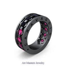 Caravaggio Mens Modern 14K Grey Gold Princess Black Diamond Pink Sapphire Blazer Wedding Band R313M-14GGPSBD