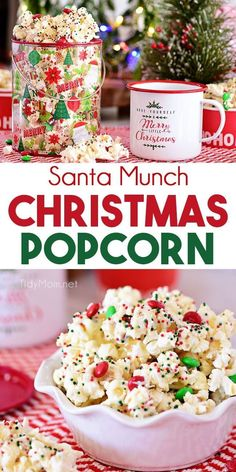 Santa Munch Christmas Popcorn is an easy treat that's perfect for gifts and parties. Salty popcorn tossed in white cake mix, M&M candies and holiday sprinkles covered in white chocolate for an irresistible snack mix even Santa will love. Christmas Popcorn, Christmas Party Food, Christmas Cooking, Christmas Foods, Christmas Sprinkles, Easy Christmas Treats, Easy Christmas Baking Recipes, Christmas Dessert Recipes, Christmas Snack Mix