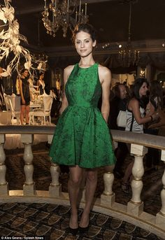 Lyndsy Fonseca perfectly suited Alice + Olivia's Versailles-themed collection in her striking emerald green dress http://dailym.ai/1trcXQc #NYFW