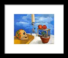 Still Life Framed Print featuring the painting Still Life With Cactus by Carmen Stanescu Kutzelnig Painting Still Life, Hanging Wire, Be Still, Fine Art America, Cactus, Framed Prints, Prickly Pear Cactus