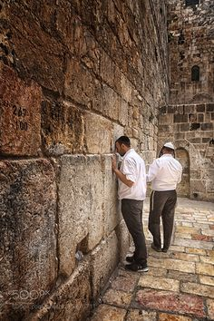 """The Little Wall. by jimbos from http://500px.com/photo/215276711 - The recent measures to favor Jewish worship in an almost ignored piece of the wall surrounding the ancient Jerusalem Temple known as """"Kotel Hakatan"""" or """"Little Wall of Wailing"""" arouse an enormous susceptibility among the Palestinians.  It is a wall of irregular blocks of stone enclaustrado in the middle of the Muslim quarter of the citadel of Jerusalem unknown to the general public even for a good part of its inhabitants…"""