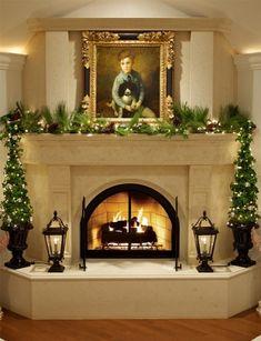 Contemporary Fireplace Mantels, Corner Fireplace Mantels, Christmas Fireplace Mantels, Simple Fireplace, Home Fireplace, Fireplace Design, Fireplace Ideas, Fireplace Facing, Fireplace Lighting