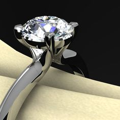 Diamond Solitaire Engagement Ring in Platinum, 1 Carat VVS1, Triangle Band. $30,000.00, via Etsy.