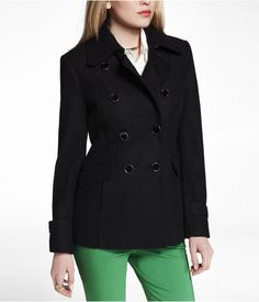 Express Womens Wool Blend Peacoat Pitch Black, Small