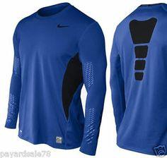 MEN'S XL NIKE PRO COMBAT HYPERCOOL FOOTBALL COMPRESSION SHIRT DRI-FIT BLUE