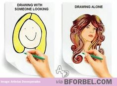 I try not to draw in front of people until my drawing is fairly far along, for this reason. #artistproblems