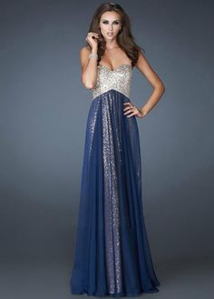 Elegant Navy Strapless Sparkly Sequined Evening Gown $180.00