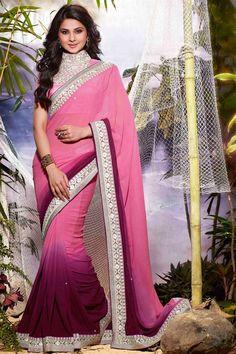 Jennifer Winget Pink Color Embroidered Saree