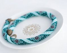 """Bead Crochet Necklace """"Dragon with amethyst eyes"""" turquoise blue teal for her"""