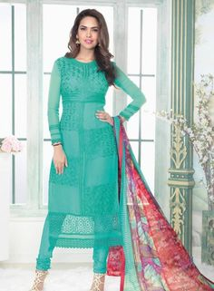 Turquoise latest style shalwar kameez in georgette B15463
