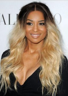 New Fashion Ombre Hairstyle Ciara Long Loose Wavy Full Lace Wig 100% Human Hair about 22 Inches: wigsbuy.com