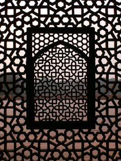 Incricate lattice work on one of the windows in Humayun's tomb.