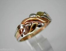 Tri-Color Gold 14k Solid 4 Band Turkish Puzzle Ring - Sizes 4-8 plus 1/2 sizes