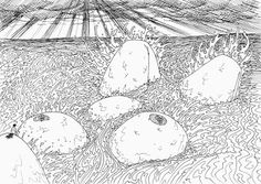Gerald ligonnet - l'ile nue, Black & white drawing  #art #drawing #illustration #blackandwhitedrawing