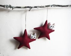 Two deep-red stars with owl. Felt Decoration wall hanging.