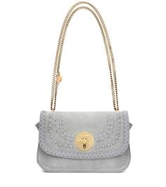 See By Chloé - Lois Medium suede shoulder bag - With an antique-inspired golden shoulder chain and soft suede fabrication, See By Chloé's compact Lois Medium shoulder bag comes with relaxed-luxe appeal. A dainty key charm adds playful character, while a logo-embossed plaque brings a dose of recognition. This versatile piece in warm grey will work with any of your daytime separates. seen @ www.mytheresa.com