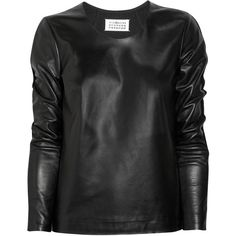 Maison Martin Margiela Leather and wool top ($795) ❤ liked on Polyvore featuring tops, blouses, shirts, black, women, wool shirt, maison margiela shirt, leather blouse, maison margiela and shirt blouse