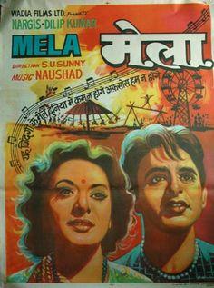 Mela (1948) Bollywood Posters, Movies Bollywood, Vintage Bollywood, Indian Bollywood, Film Poster Design, Indian Music, Mp3 Song Download, Indian Movies, Music Film