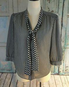 Liz Claiborne New York 3/4 Sleeve Button Down Career Shirt Blouse Size 10 #LizClaiborne #Blouse #Career