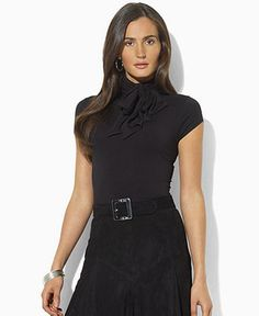 Lauren by Ralph Lauren Top, Glanton Cap-Sleeve Turtleneck - Womens Tops - Macy's
