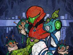 Metroid Samus, Samus Aran, Zero Suit Samus, Saga, Video Games, Nintendo, Geek Stuff, Fan Art, Twitter