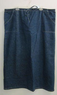 Womens Plus Size Long Modest Denim Jean Skirt Size 3X Drawstring Waist #Unbranded #StraightPencil