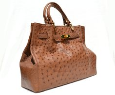 Vintage Skins - Stunning XL 15 x 10 NEW Early 2010's Tan BIRKIN Style OSTRICH Skin Handbag Shoulder Bag, $595.00…