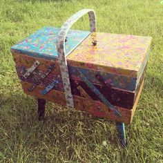 vintage sewing box decopatched