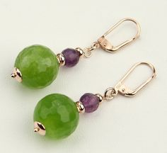 Green Agate, Amethyst's Beads and Sterling Silver 925 Rose Gold Plating, Dangle Earrings Made in Italy, Tuscany's Products, Gift 7595