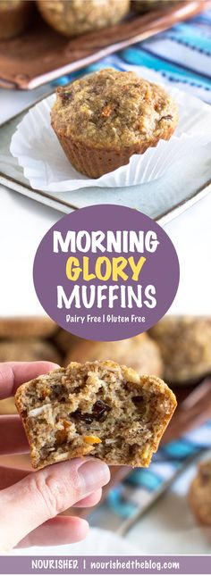 These Morning Glory Muffins are jammed pack with everything good making them a great start to your day! Delicious and tender dairy free and Gluten Free Morning Glory Muffins loaded with fresh fruits and vegetables, crunchy walnuts, sweet coconut and chewy dried cranberries. And they make an equally delicious healthy afternoon snack or dessert. Get the recipe now!