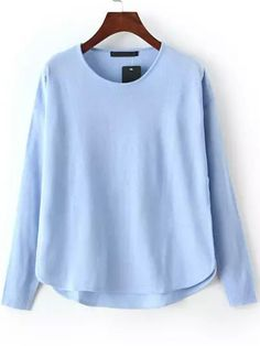 Shop Blue Round Neck Dip Hem Knit Sweater online. SheIn offers Blue Round Neck Dip Hem Knit Sweater & more to fit your fashionable needs.