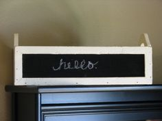 Place this adorable blackboard ivory box in your home with a special message, found here at Primitive Star Quilt Shop! https://www.primitivestarquiltshop.com/collections/wood-primitives/products/ivory-chalkboard-box #primitivefarmhousedecor
