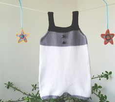 Knit BABY ROMPER,OVERALLS-100% cotton in snow white,grey and black colors.Ready to Ship,Phildar design.Size: 3-6 months
