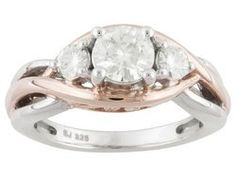 Moissanite Fire(Tm) 1.00ctw Dew Round Platineve(Tm) And 14k Rose Gold Over Sterling Silver Ring
