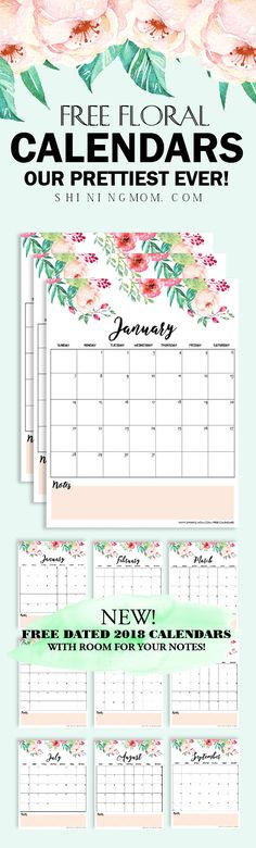 Plan a beautiful year with our prettiest printable calendar for 2018 ever! Download yours today!    #2018 #calendar #planner #printable