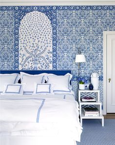 Gorgeous Palm Beach Blue and White Bedroom from Veranda's January/February 2016 Issue