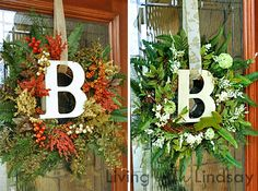 Beautiful initial wreath with great tutorial on how to do it yourself. Going to make one for my front door this spring/summer