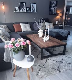 Best Modern Living Room Ideas for Your Home. We have put together all of our favourite modern living room design ideas and inspirations for the season so you can be inspired to get the perfect look. All the modern living room design ideas you'll need. Dark Living Rooms, New Living Room, My New Room, Home And Living, Dark Rooms, Living Room Decor Grey Couch, Cozy Living, Living Room Brown, Modern Small Living Room