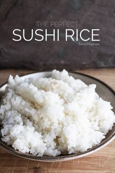 Sushi Rice * 2 cups of short grain rice * 2 tbsp rice wine vinegar * 2 tbsp sugar * tbsp salt Rinse rice till water runs clear Vegan Sushi, Vegan Foods, Rice Cooker Recipes, Cooking Recipes, Asian Recipes, Love Food, Vegetarian Recipes, Lunch Recipes, Whole Food Recipes