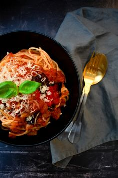 Homemade tomato and roasted red pepper sauce on spaghetti