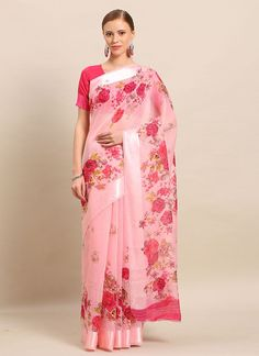 Linen Printed Saree in Pink Party Wear Sarees Online, Celebrity Gowns, Casual Saree, Latest Sarees, Printed Sarees, Fabric Shop, Kimono Top, Floral Prints, Celebrities