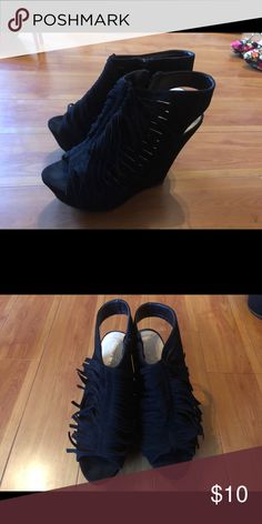 Wedges Wore them once. Cleaning out closet so getting rid of a few items. Cleaning Out Closet, Wedge Shoes, All Black Sneakers, Rid, Shop My, Wedges, Best Deals, Womens Fashion, How To Wear
