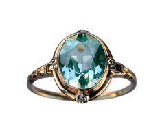 1930-40s Art Deco Aqua Glass Ring, 10K Yellow and White Gold : Erie Basin Antiques