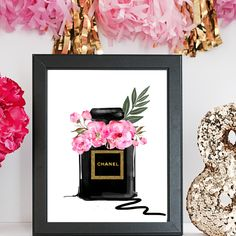 Excited to share the latest addition to my #etsy shop: DIGITAL FASHION ILLUSTRATION-Chanel Noir-Black Gold Glitter Pink Peony Chanel Perfume Bottle Fashion Print for the Home Girl Boss Watercolor