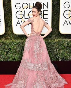 Lily Collins, Instagram: I'll look back on this #GoldenGlobes moment and remember it forever in @ZuhairMuradOfficial...