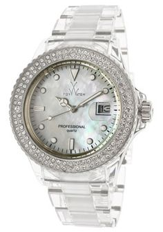 Women's White Mother Of Pearl Dial Transparent Polycarbonate
