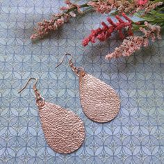 Rose gold teardrop leather earrings, pink rose gold metallic leather teardrop earrings, rose gold leather earrings by ShopSimplyDistressed on Etsy