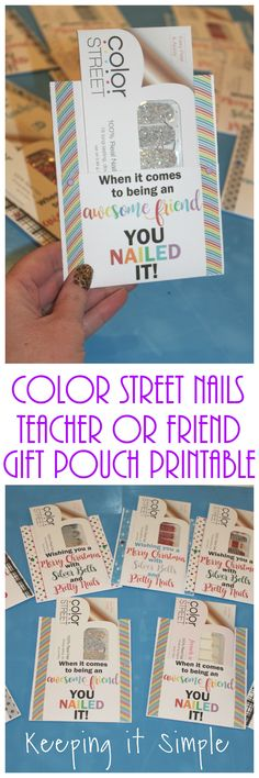 Color street nails teacher or friend gift pouch with printable, 8 different designs including Christmas.